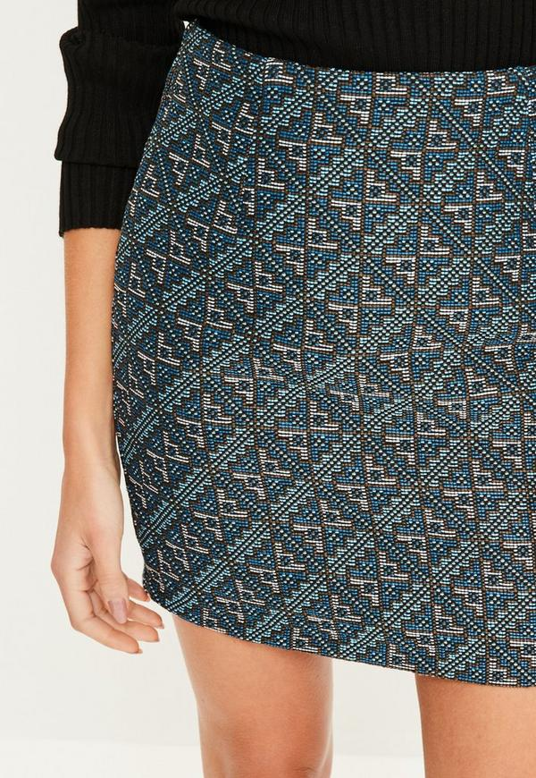 Blue Woven Patterned Mini Skirt Missguided New Patterned Mini Skirt