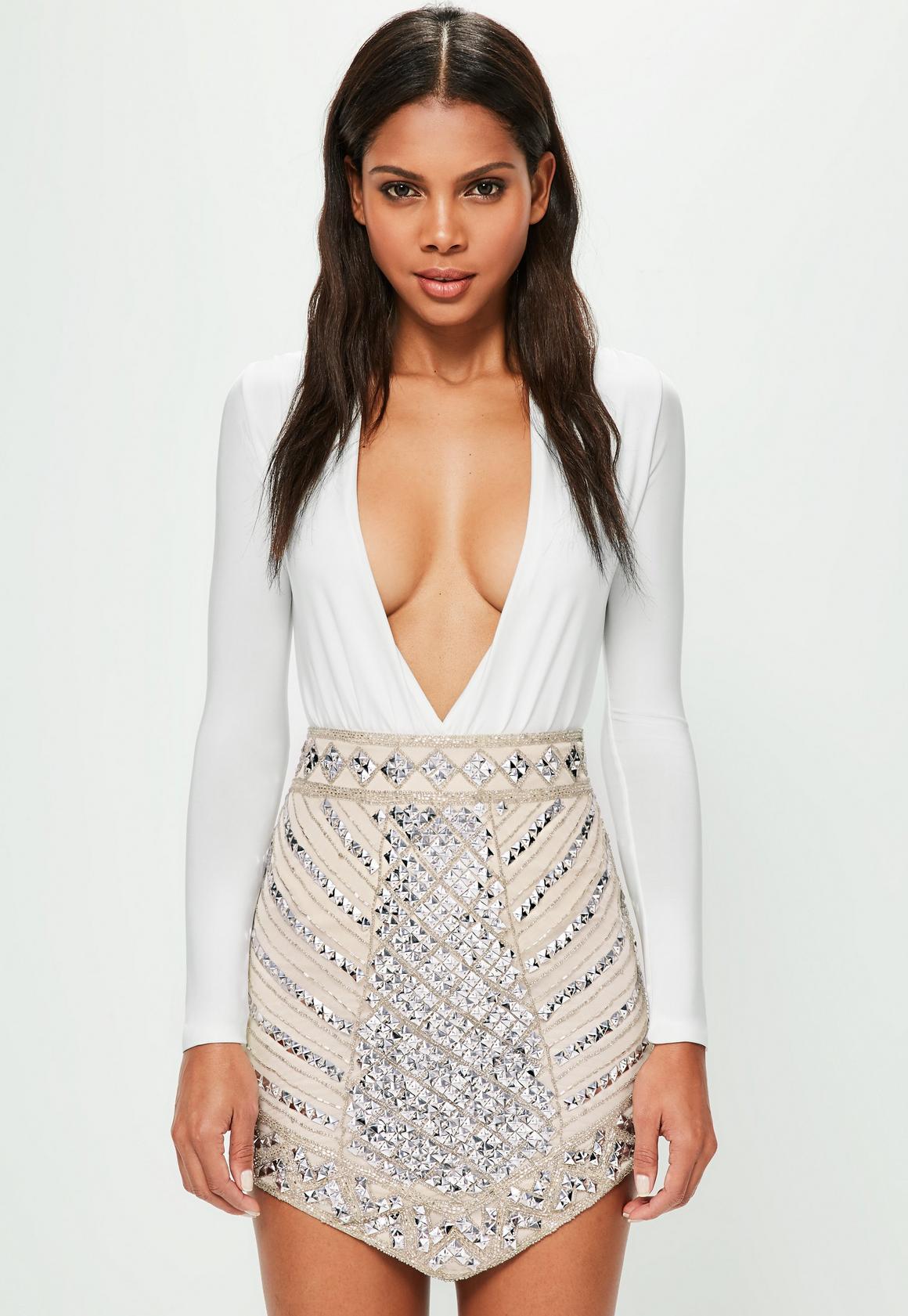 Peace   Love Nude Triangle Studded Embellished Mini Skirt | Missguided