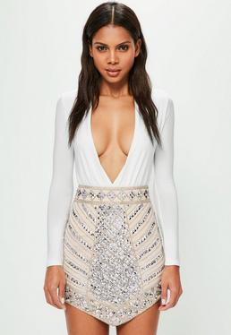 Peace + Love Nude Triangle Studded Embellished Mini Skirt