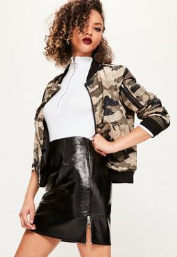 Black Shine Ringpull Faux Leather Mini Skirt