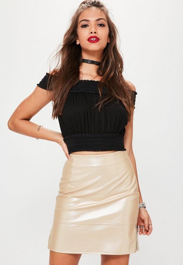 Nude Shine Ringpull Faux Leather Mini Skirt