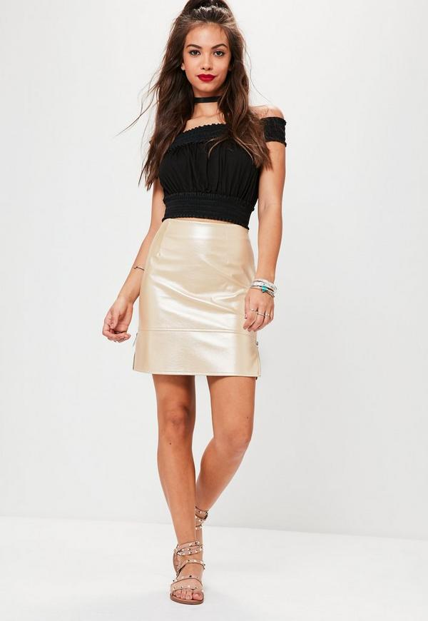 Nude Shine Ringpull Faux Leather Mini Skirt | Missguided