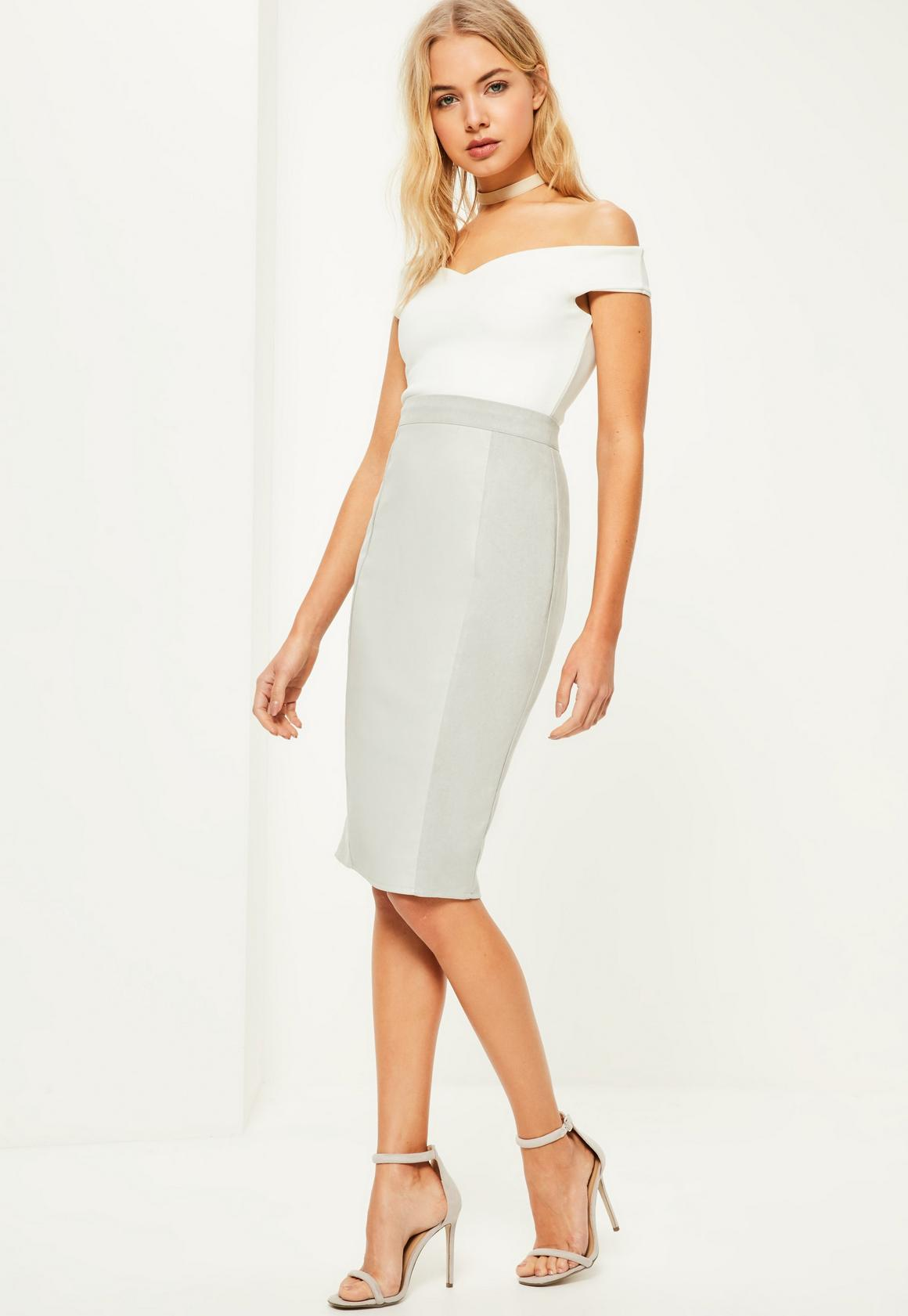 Grey Faux Leather Suede Midi Skirt | Missguided