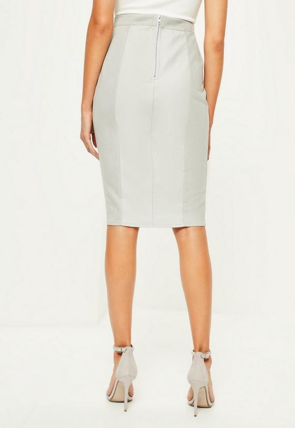 grey faux leather suede midi skirt missguided
