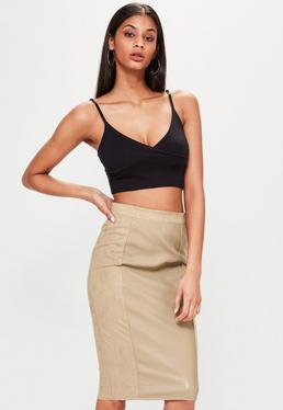 Tan Faux Leather Suede Panelled Midi Skirt