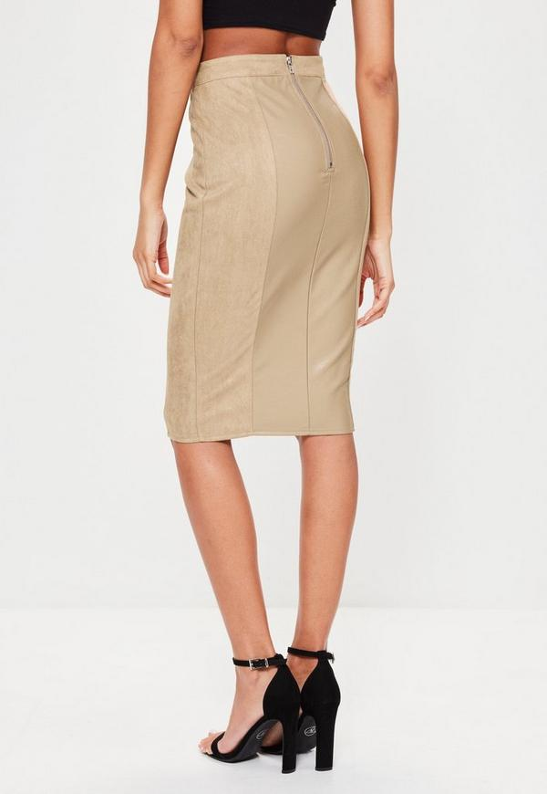 Tan Faux Leather Suede Panelled Midi Skirt   Missguided