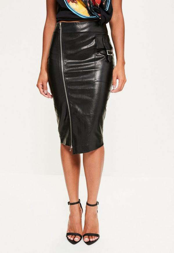 Black Faux Leather Zip Pocket Midi Skirt | Missguided