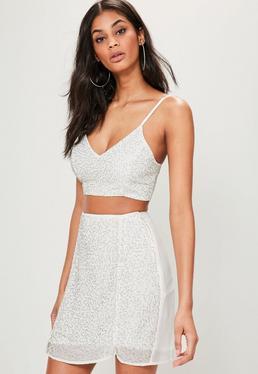 White Beaded Embellished Mini Skirt