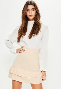 Nude Double Frill Hem Scuba Mini Skirt