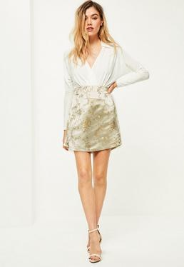 Nude Satin Embroidered Split Side Mini Skirt