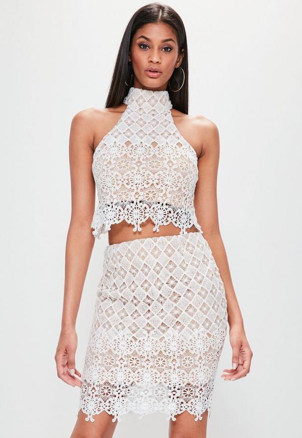 White Lace Scallop Hem Mini Skirt