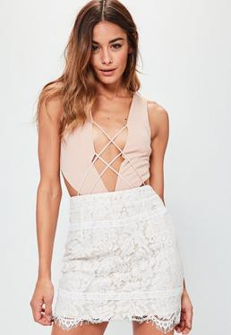 Premium White Lace Scallop Hem Mini Skirt