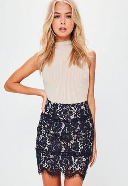 Premium Navy Lace Scallop Hem Mini Skirt