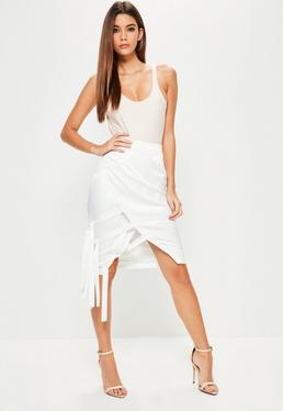 Cream Hammered Satin Tie Side Midi Skirt