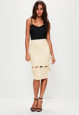 Cream Faux Suede Knot Detail Midi Skirt