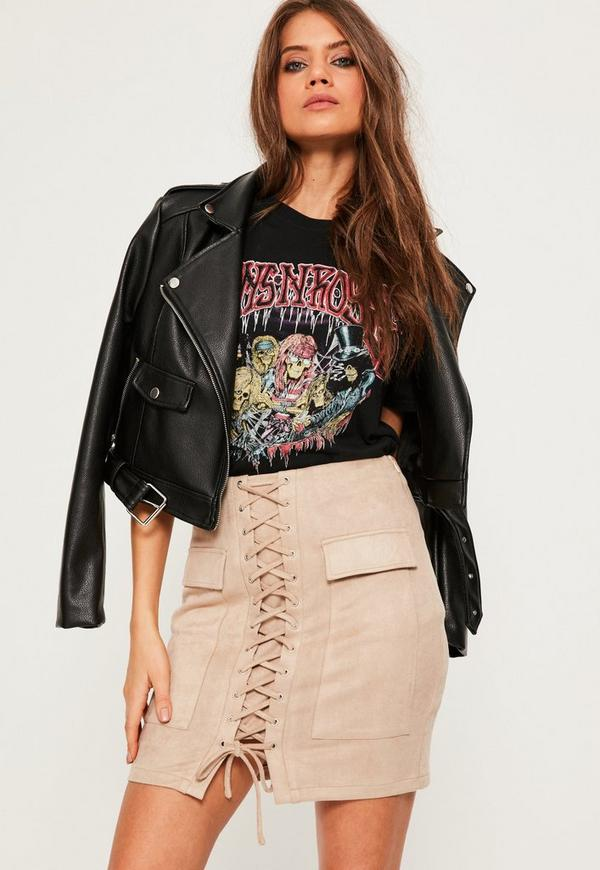 Nude Faux Suede Lace Up Front Mini Skirt