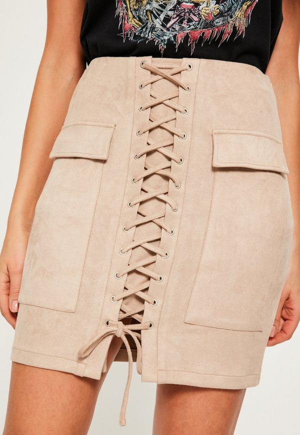 Nude Faux Suede Lace Up Front Mini Skirt | Missguided