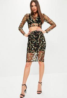 Premium Black Floral Mesh Embroidered Midi Skirt