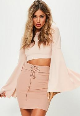 Nude Ribbed Lace Up Waist Mini Skirt