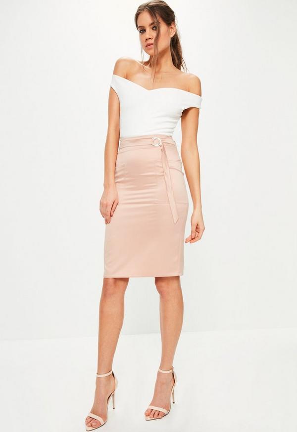 Pink Pocket Detail Tie Waist Midi Skirt | Missguided