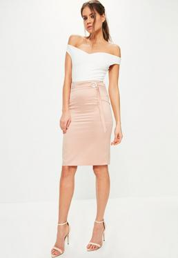 Pink Pocket Detail Tie Waist Midi Skirt