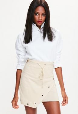 Cream Jersey Asymmetric Hem Popper Detail Skirt
