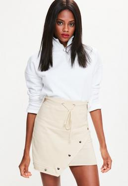 Cream Jersey Asymmetric Hem Popper Detail Skirt