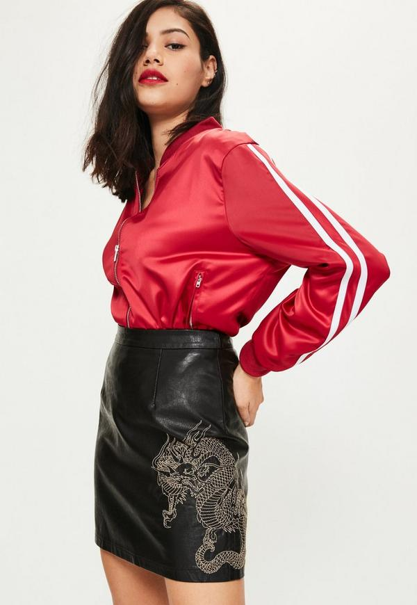 Black Snake Embroidered Faux Leather Mini Skirt