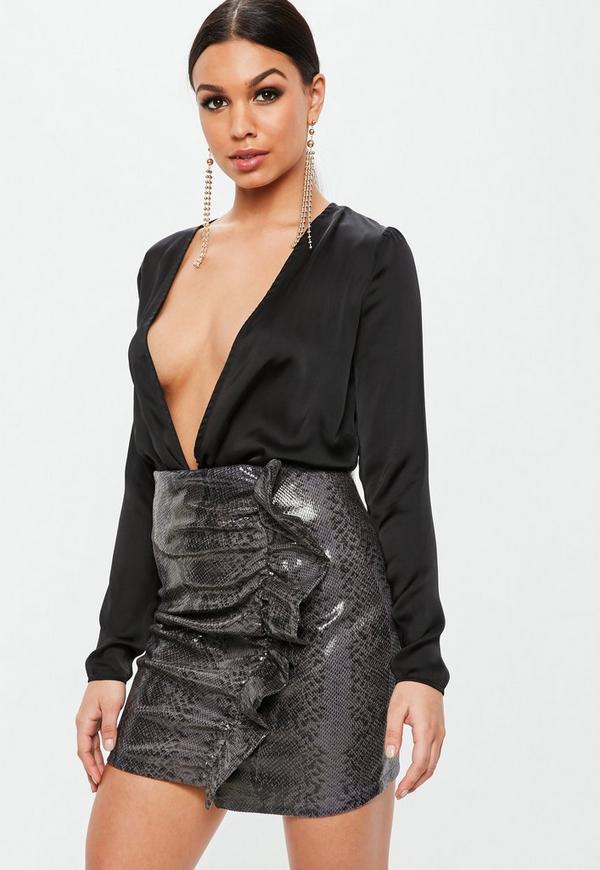 Black Faux Leather Snake Ruffle Mini Skirt