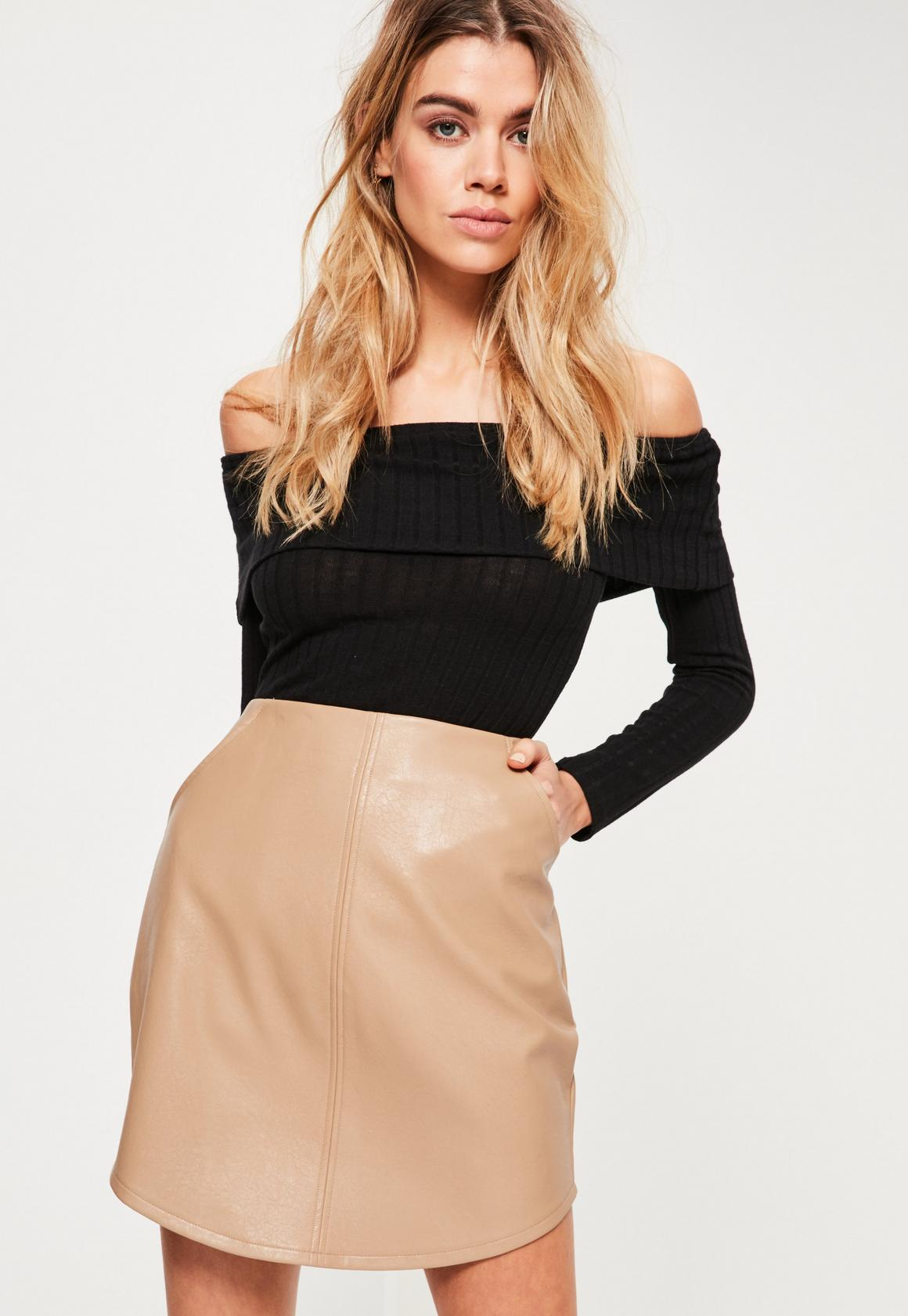Nude Curve Hem Zip Back Faux Leather Skirt - Missguided