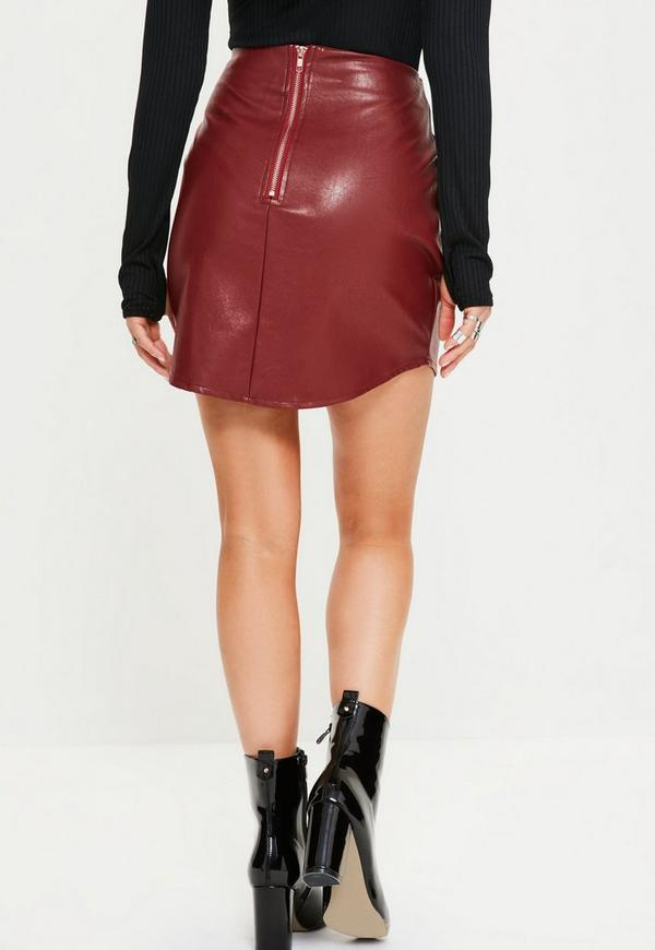 Red Curve Hem Zip Back Faux Leather Skirt | Missguided