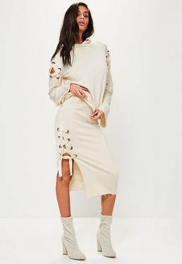 Cream Jersey Eyelet Detail Midi Skirt