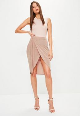 Pink Slinky Tie Side Midi Skirt