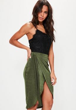 Khaki Slinky Tie Side Midi Skirt