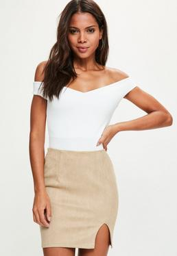 Tan Faux Suede Split Mini Skirt