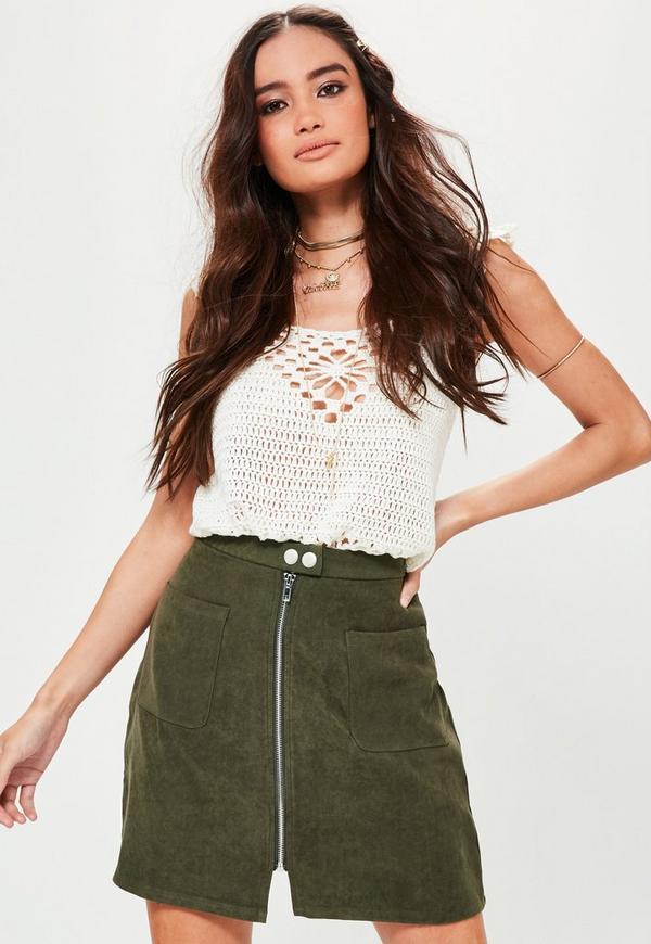 Khaki Zip Through Pocket Front Mini Skirt