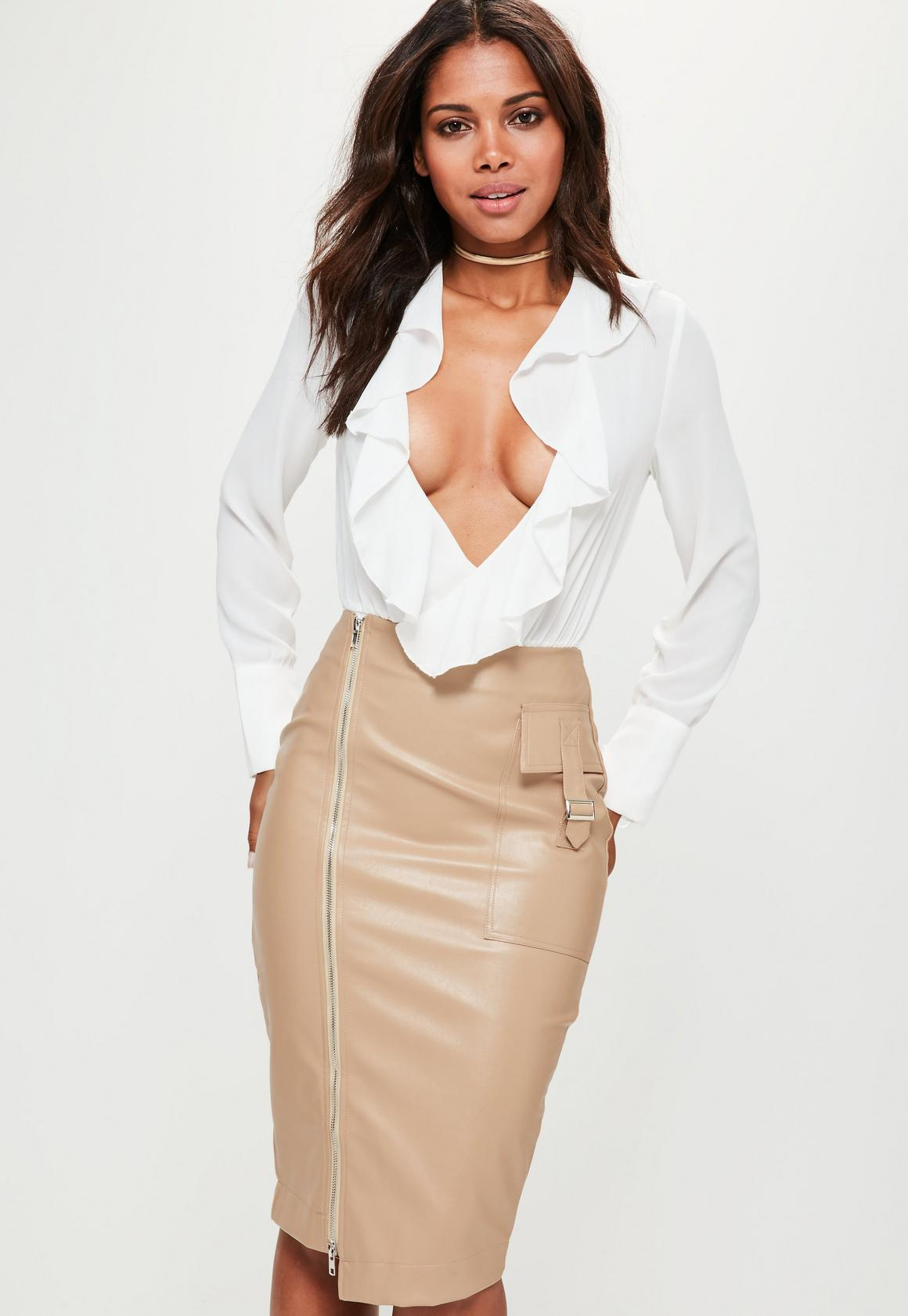 Nude Faux Leather Zip Pocket Detail Midi Skirt | Missguided