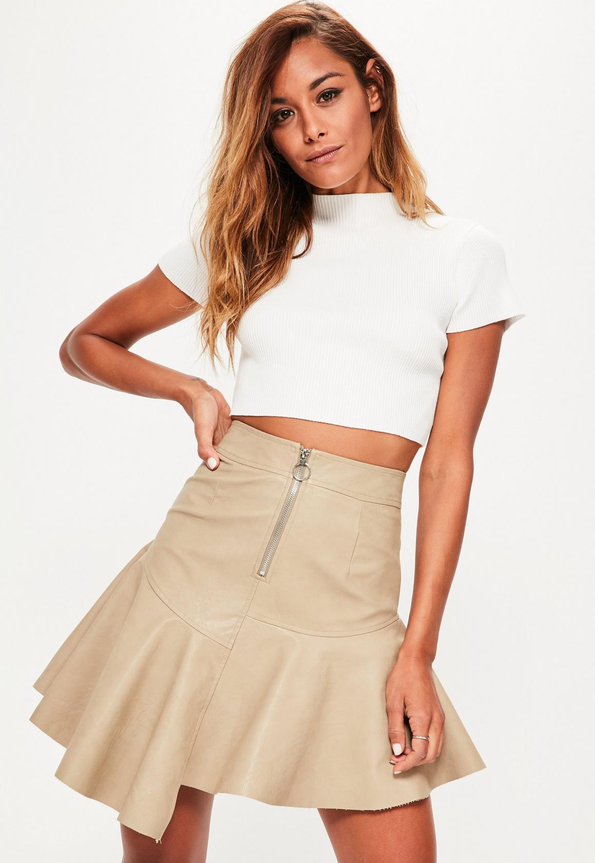 Nude Faux Leather Asymmetric Zip Detail Mini Skirt | Missguided