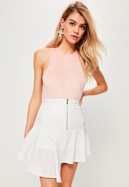 White Zip Detail Asymmetric Step Hem Skirt
