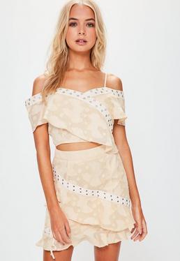 Nude Textured Frill Mini Skirt