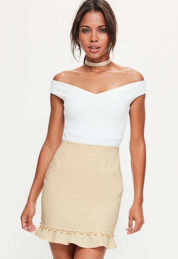 Nude Button Frill Hem Detail Mini Skirt