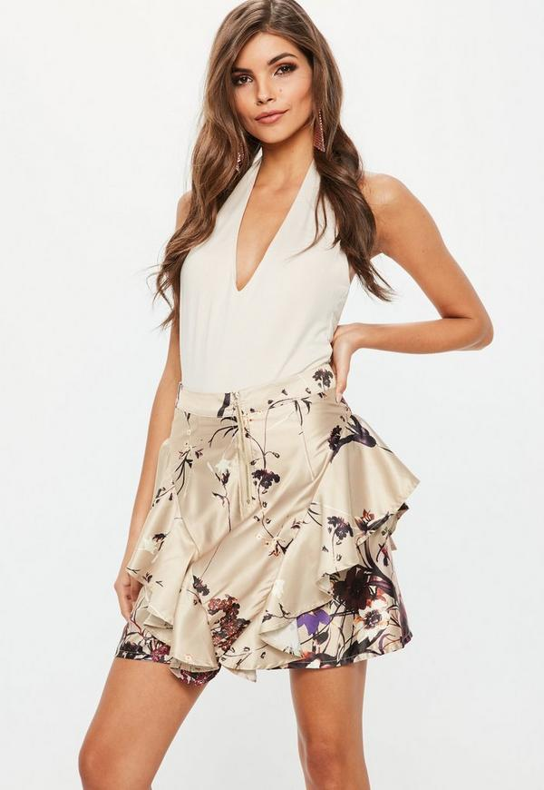 Gold Printed Zip Front Frill Mini Skirt