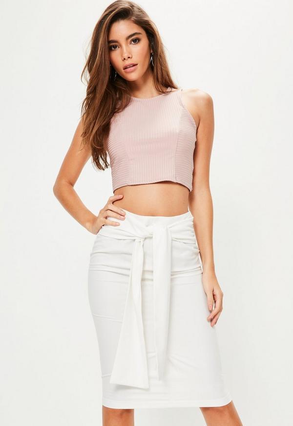 White Tie Waist Crepe Midi Skirt
