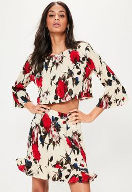 Cream Frill Hem Rose Print Crinkle Skirt