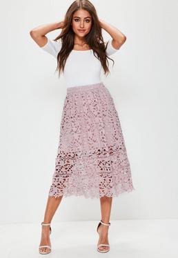 Fioletowa rozkloszowana spódnica midi premium z koronki