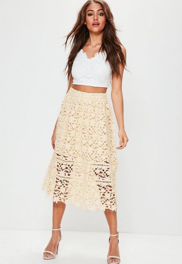 Premium Nude Lace Half Lined Midi Skirt