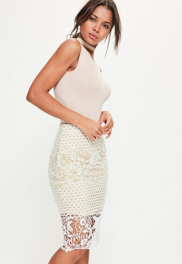 Premium White Lace Lined Midi Skirt
