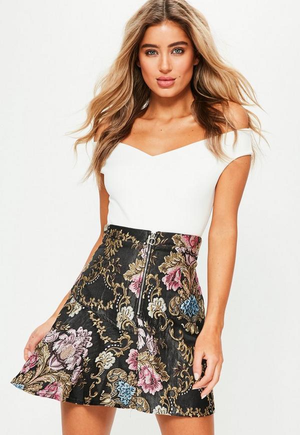 Black Floral Jacquard Full Mini Skirt