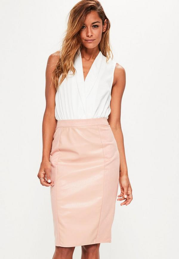 pink faux leather suede panelled midi skirt missguided