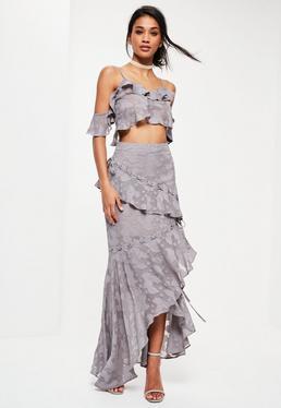 Szara długa teksturowana spódnica premium z ozdobnymi falbanami i wiązaniami